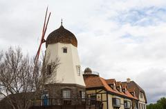 faux windmill in solvang ca - stock photo
