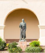 father junipero serra statue santa ines mission - stock photo