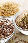 Stock Photo of brown and golden flax seed