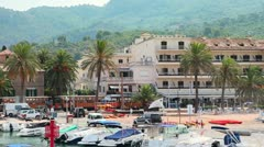 Old tramway in Port de Soller, Mallorca Island Stock Footage