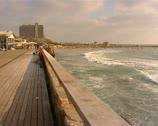 Stock Video Footage of Sea promenade & waves.