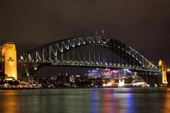 Sydney Harbour Bridge lights at night - stock photo