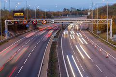 Motorway traffic management Stock Photos