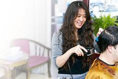 hairstylist working - stock photo
