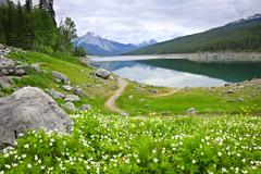 Mountain lake in jasper national park, canada Stock Photos