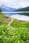mountain lake in jasper national park, canada - stock photo