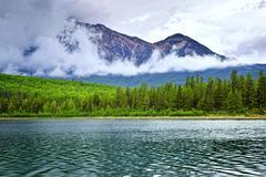 mountain lake in jasper national park - stock photo