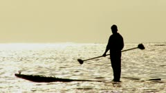 Kayak Fisherman on the sea. Stock Footage