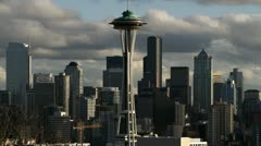 Seattle Skyline Space Needle Time Lapse Stock Footage
