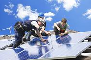 Solar panel installation Stock Photos