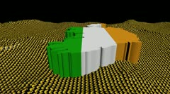 Ireland map flag in abstract ocean of Euro symbols animation Stock Footage