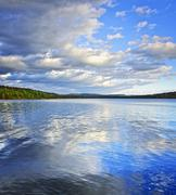 lake reflecting sky - stock photo