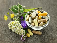 Herbal medicine and herbs Stock Photos