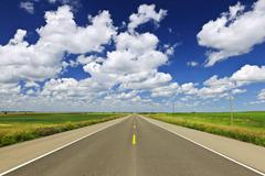 prairie highway - stock photo
