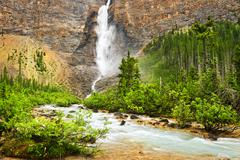 takakkaw falls waterfall in yoho national park, canada - stock photo