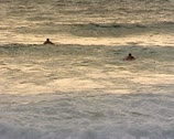 Stock Video Footage of Surfers waiting for the waves at sunset