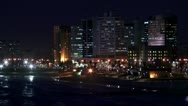 City beach night wide shot. Stock Footage