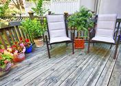 Stock Photo of chairs on wooden deck