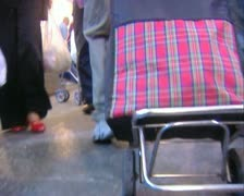 Traveling trolley at fruit market - stock footage