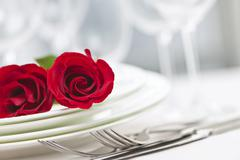 romantic dinner setting - stock photo