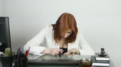Girl  paint nail varnish Stock Footage