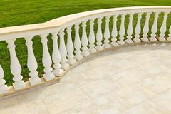 Patio with railing Stock Photos