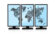 World map on screen Stock Illustration