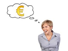 woman thinking about money - stock illustration