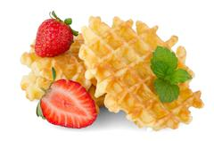 Waffles and strawberry Stock Photos