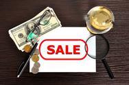 Sale symbol on paper Stock Photos