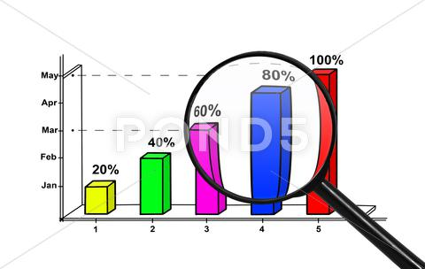 Stock Illustration of chart and magnifying