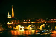 nighttime paris - stock photo