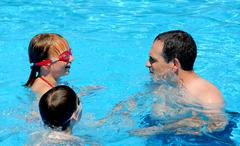 family fun pool - stock photo