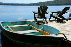 chairs boat dock - stock photo