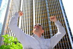 Stock Photo of businessman truimph