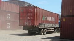 Shipping & Port: Truck in Container Port Stock Footage