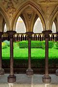 Mont saint michel cloister garden Stock Photos