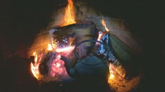 Old hearth and cooking kettle Stock Footage