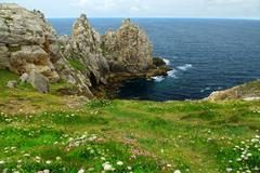 atlantic coast in brittany - stock photo