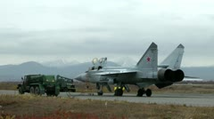 The fighter MiG-31 Foxhound prepares for flight. Passes equipment diagnostics Stock Footage
