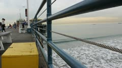 Guard Rail at Santa Monica Pier Stock Footage