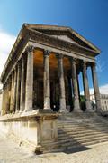 roman temple in nimes france - stock photo