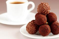 chocolate truffles and coffee - stock photo