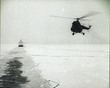 Newsreel of the USSR. The Arctic. Icebreaker. Stock Footage