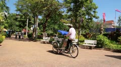 Cambodian Cyclo Driver Bicycle Taxi Stock Footage