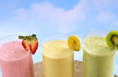 assorted fruit smoothies - stock photo