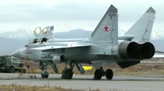 The military distant supersonic fighter an interceptor MiG-31 before flight - stock footage