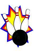 bowling pin and ball - stock illustration