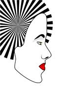 Geisha girl's face with  parasol Stock Illustration