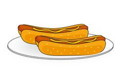 Couple of hotdogs on a plate Stock Illustration